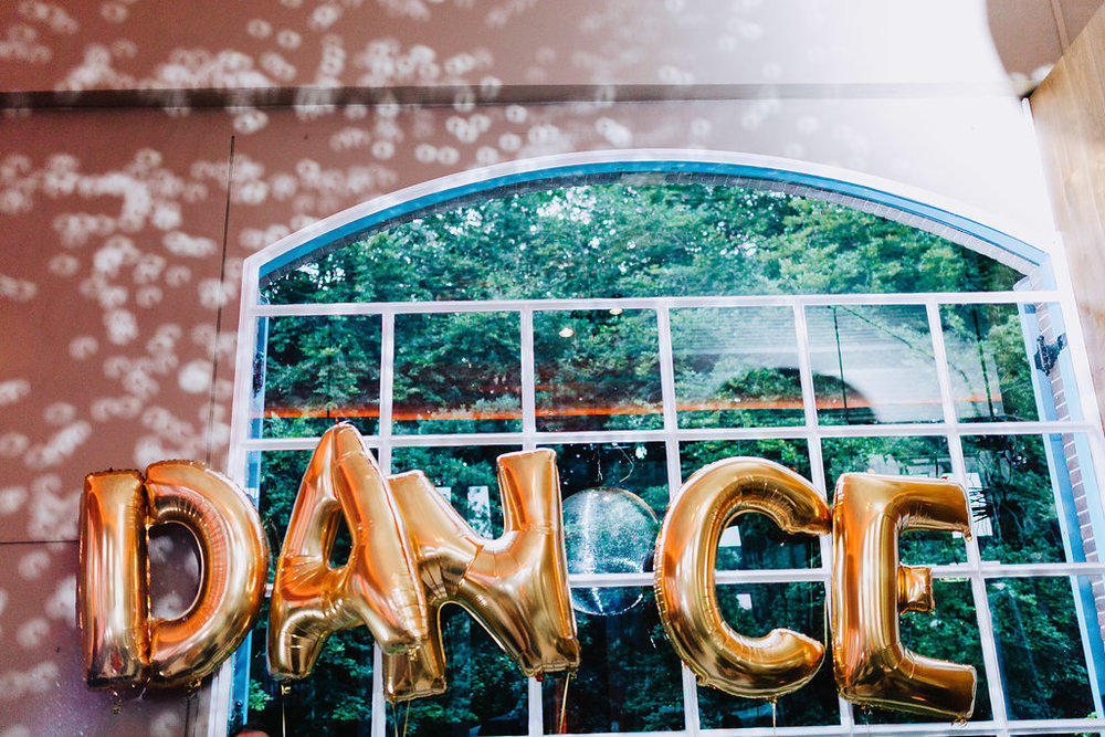 dance foil balloons gold