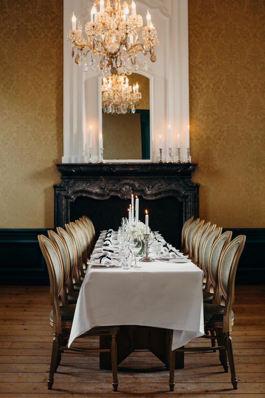 Wedding dinner set up Huize Frankendael Amsterdam