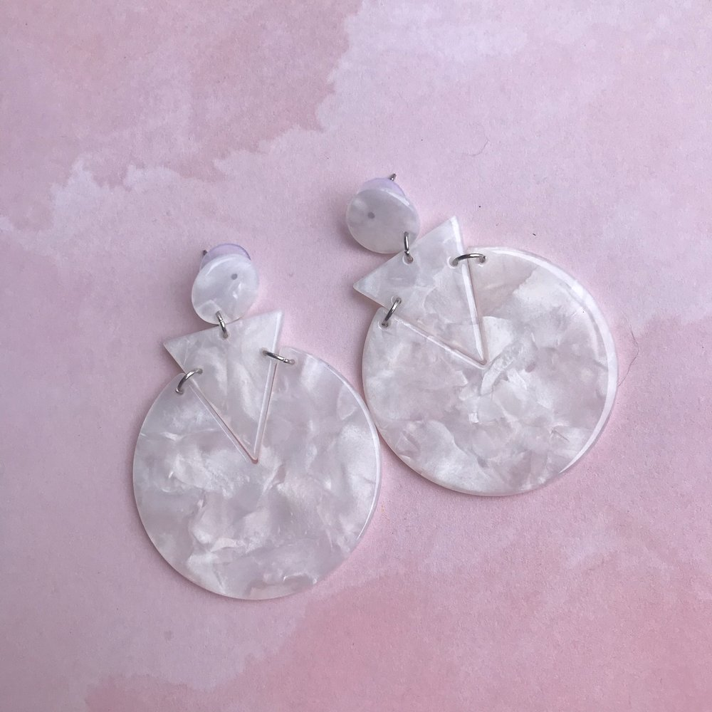 White Tortoise Summer Statement Acrylic Earrings