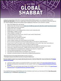 Global Shabbat 2016 Program Inspiration One Pager