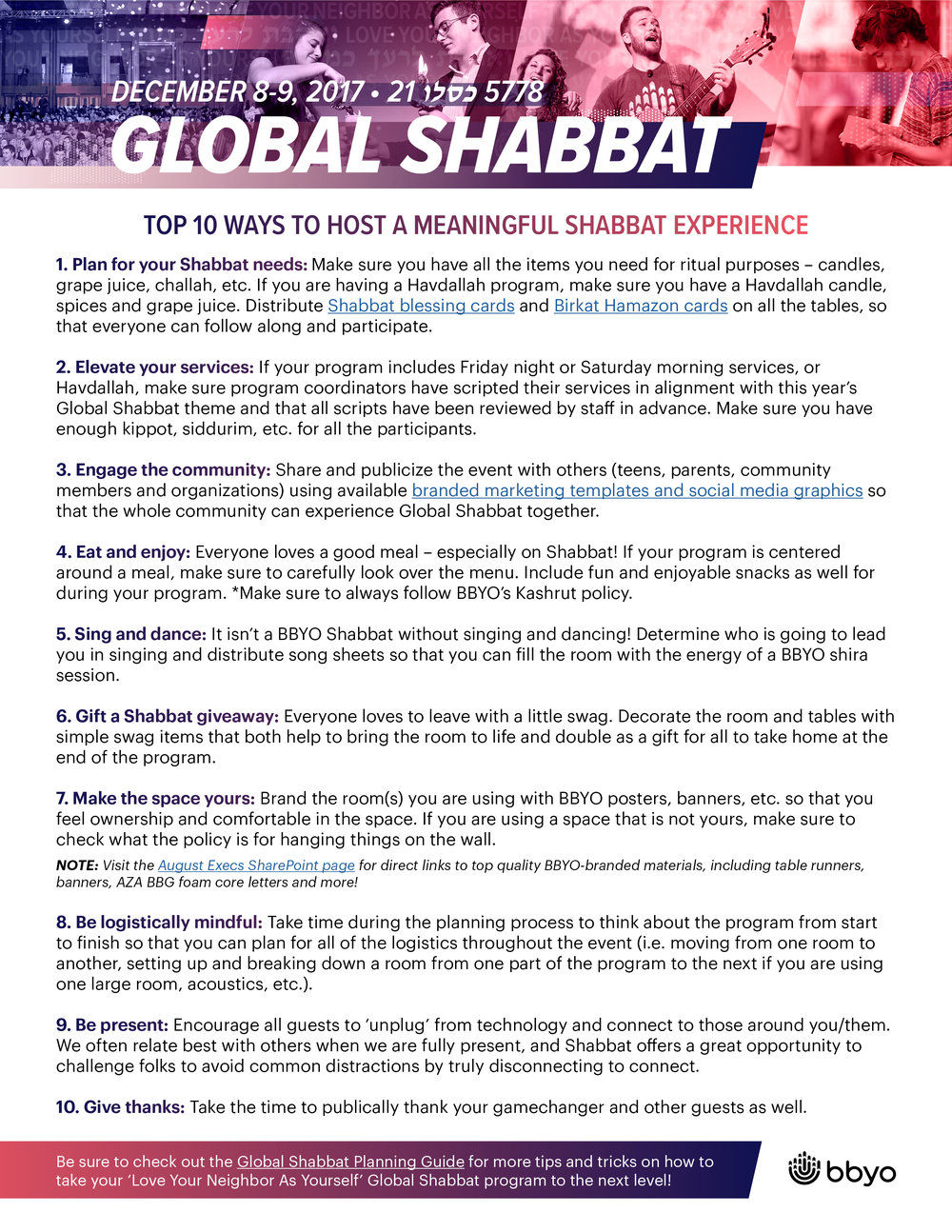 The Top 10 Ways to Host a Meaningful Shabbat Experience Check out this quick tip list for making your Global Shabbat as meaningful as possible.