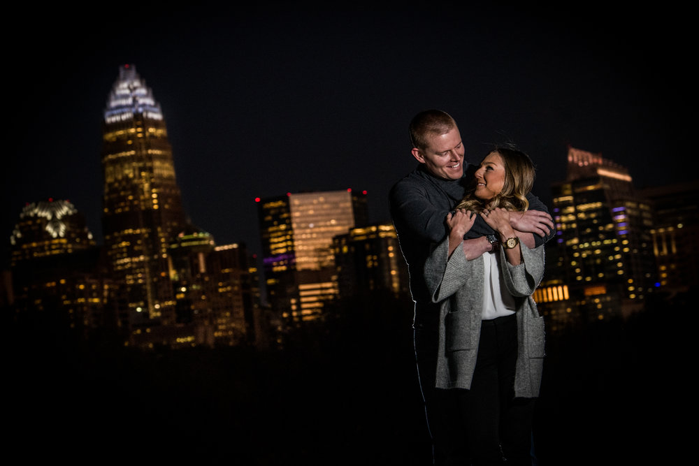 Uptown Charlotte - The streets and parks in Charlotte's center city have a lot of variety for engagement shoots. The Green, Trade and Tryon, First Ward Park, Romare Beardon and everywhere else inside Interstate-277 loop is a great urban landscape. Some spots do require a location fee.