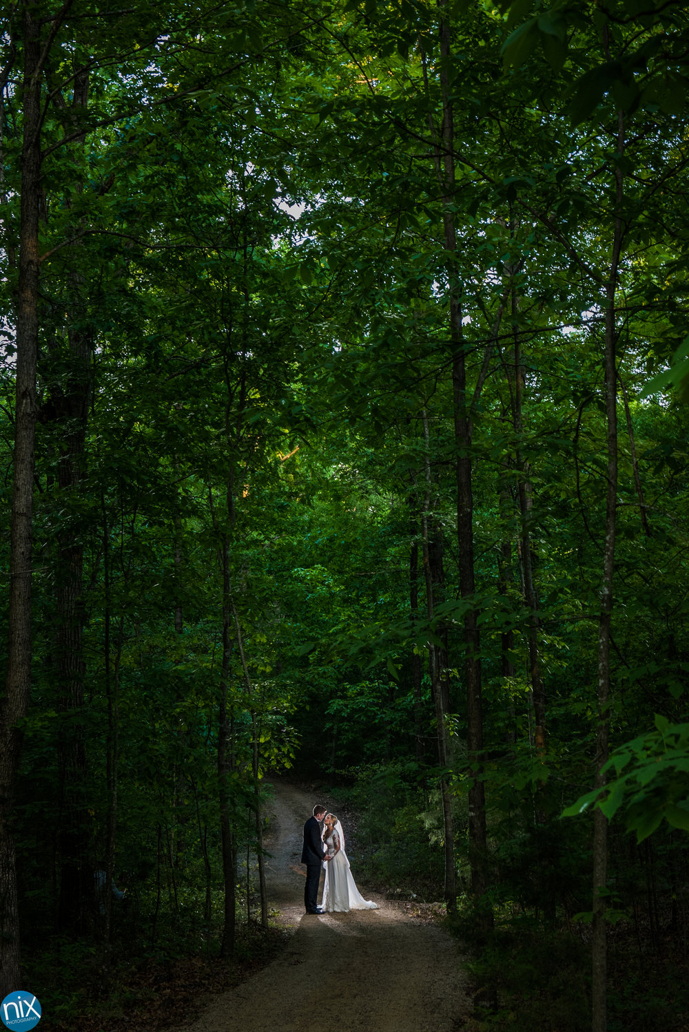 bride and groom on path through trees Morning Glory Farm.jpg