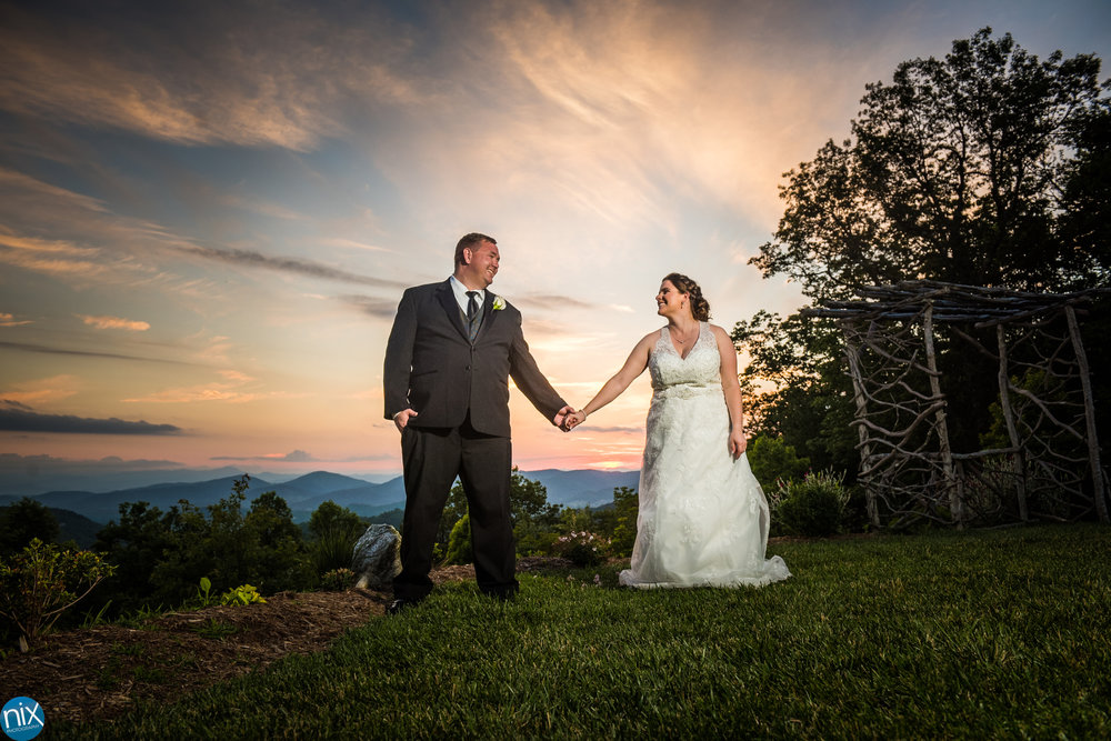 bride and groom at sunset at cabin ridge.jpg
