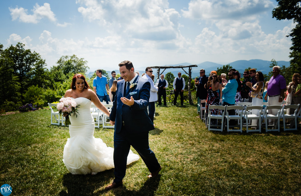 bride and groom get marries at mountain wedding in north carolina.jpg