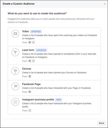 Instagram Custom Audience Creation Options