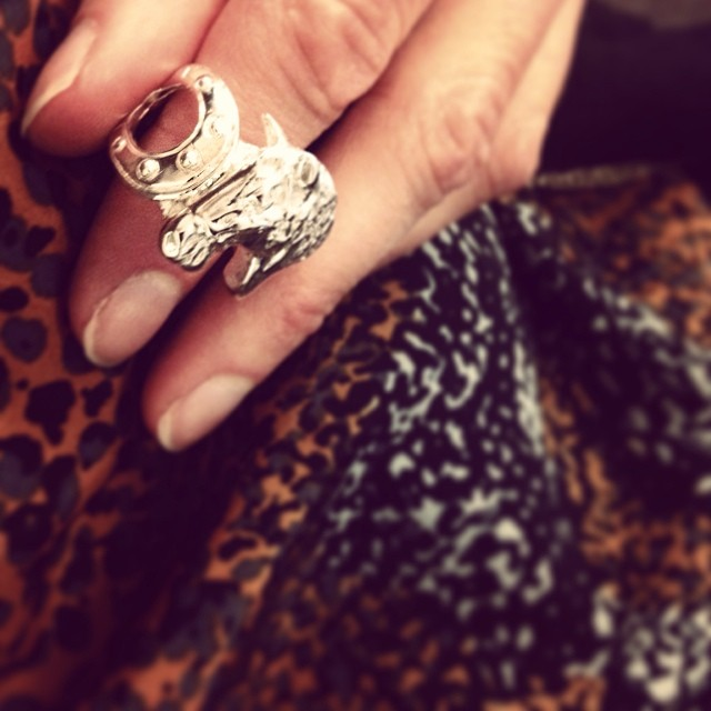 "Today we wear one of our SALE pieces: the cute little horse ring in silverplated brass. 100 SEK (it's almost a steal!) Put a chain on it and you have a necklace (just write ""chain"" in the comments field when order and we will provide you with one for free"