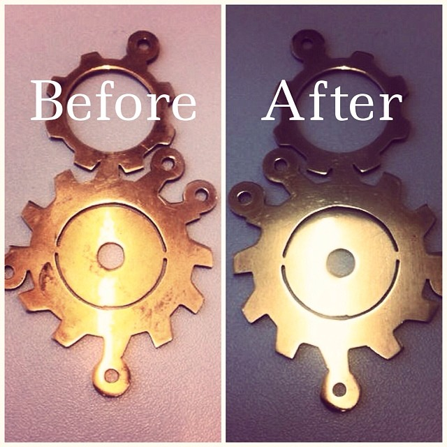 Brass and silver darkens over time, so it can be a really good idea to polish it. Like one of our customer did: she used our polish cloth for 29 SEK, and totally amazed she sent us this pic. Kind of a cheap to get a new piece right? Check out the magic cloth at www.johanna-n.com