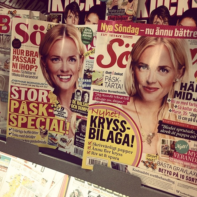 Our butterfly necklace PiiSuaKoo is on three covers at the same time: Expressen Söndag, Aftonbladet Söndag and Amelia! Thank Lord for the lack of time in the media business :) - they all use the same press image of Josephine Bornebusch! The necklace is now also back in stock so feel free to check it out in www.johanna-n.com