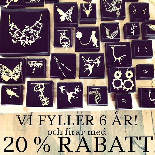 20% rabatt Time to celebrate our birthday! 20 % off on all our jewelry until Friday 27th 2015 at www.johanna-n.com and our store at @frejgatan47 (open Thu 12-18). Hope you will like it! (The discount can not be combined with other offers or discounts and does not include FATTA)