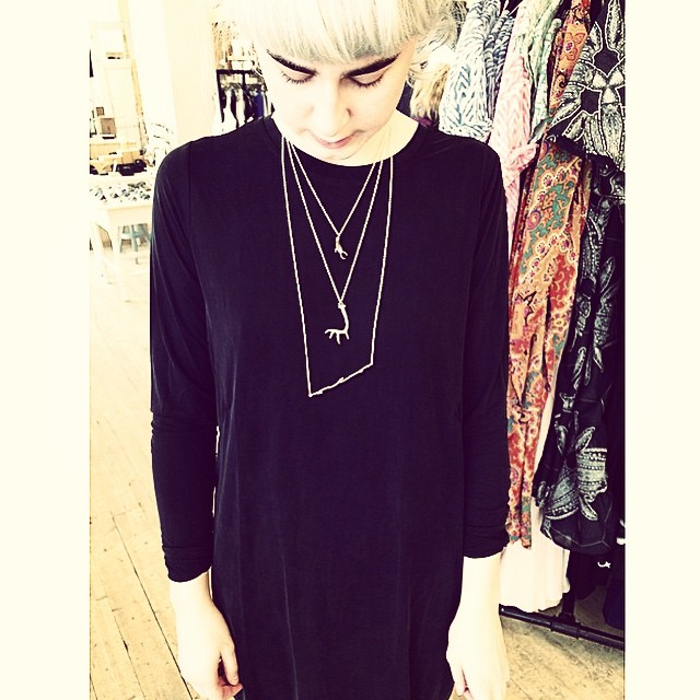 Moa at our retailer @kii_shop wears necklaces from our HORN silver and BJÖRK silver collections. And we love the combo!
