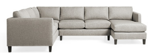 "#1 Taylor Sectional from Arhaus: Right arm chaise 124"" W X 97"" D X 34"" H"