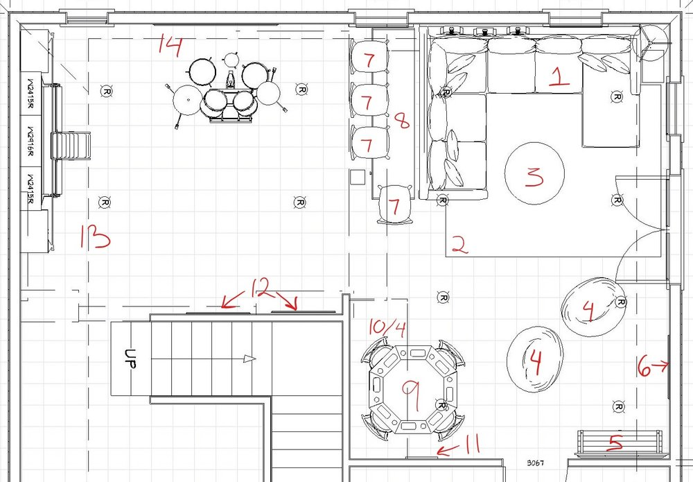 Items are numbered to match up to floor plan location