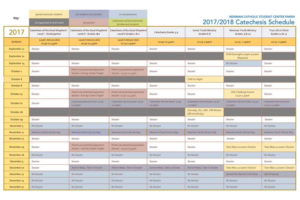 2017 Catechesis Schedule with key.png