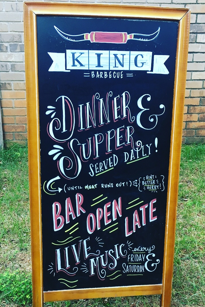 Chalkboard Art on Sandwich Board at King Barbecue, Avalon Alpharetta