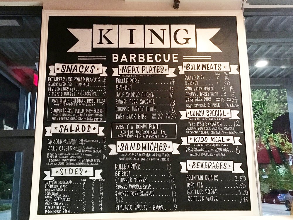 King Barbecue Avalon Menu Board
