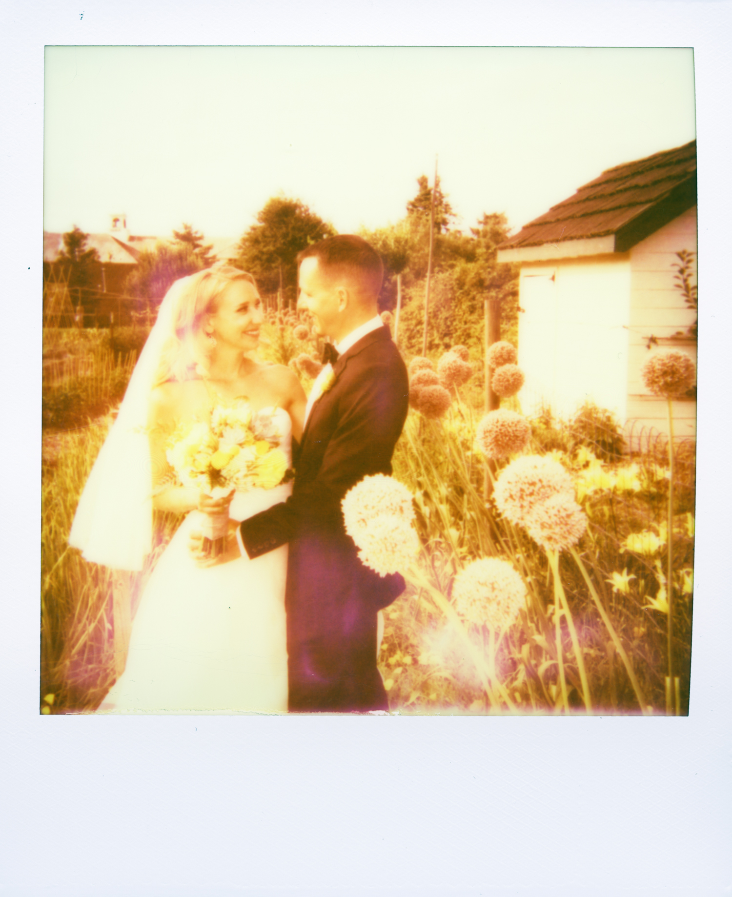 expired polaroid wedding photo