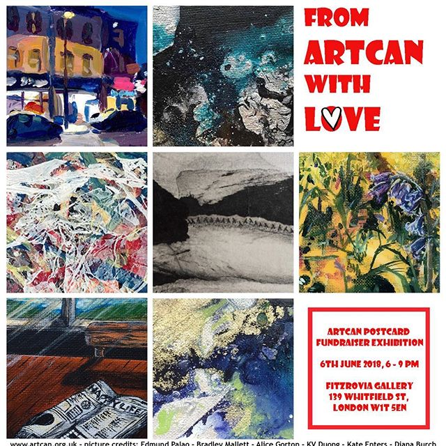 One night only (this eve)! Artcan fundraiser, great chance to pick up original art for only £40 from 50+ artists. Or just drop by to say hello 👋 #kvduongart #londonart #fundraiser #artcanorg
