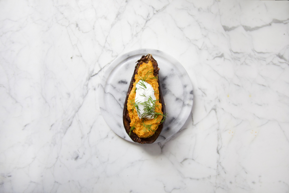 spice rubbed eggplant, carrots hummus, dill • wandering 02