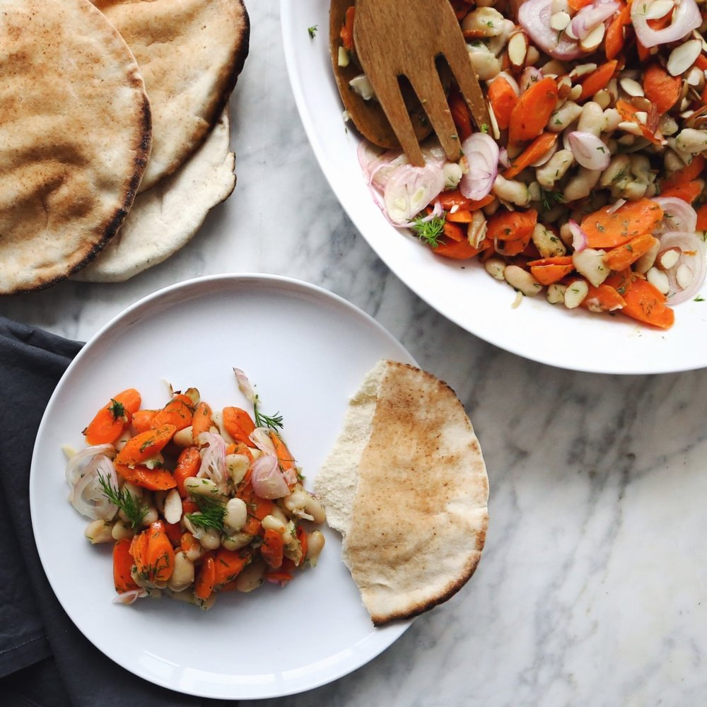 warm cannellini bean and carrot salad  • wandering 04