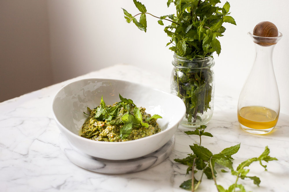 minty pesto with pistachio and scallions • wandering 06