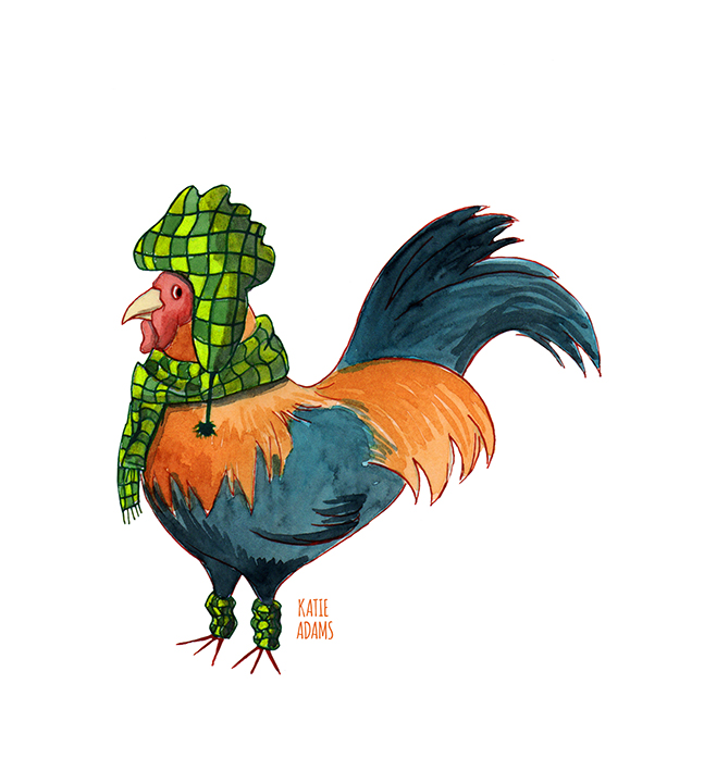 Rooster (watercolor, ink, photoshop edit - 2017)