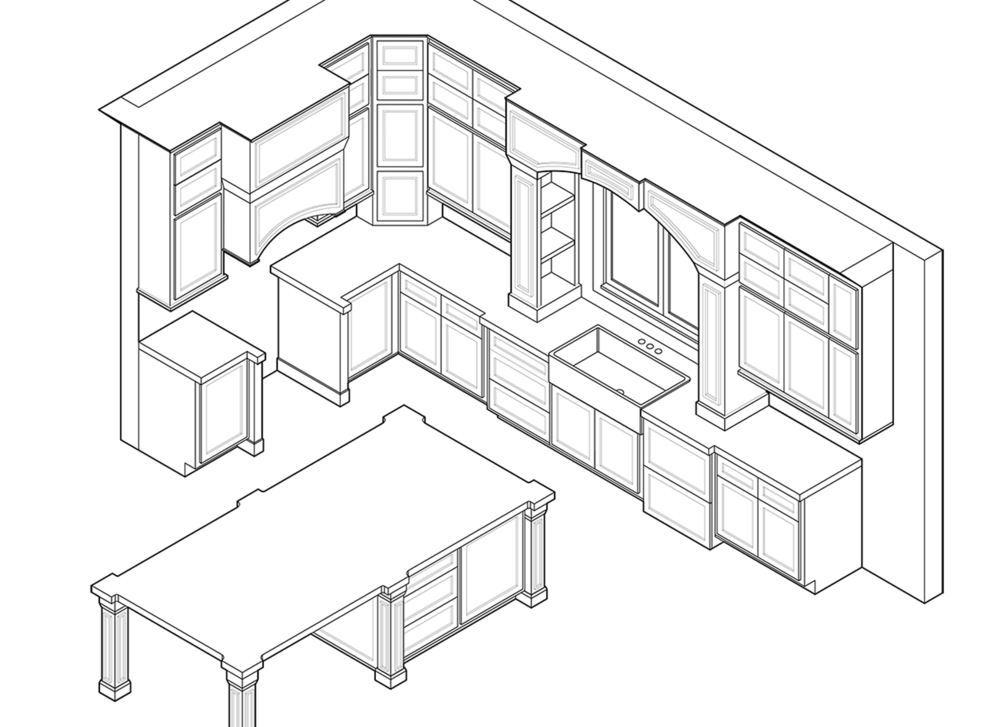 construction details beth fortune Making Cabinets Out of a Kitchen Island kitchen isometric
