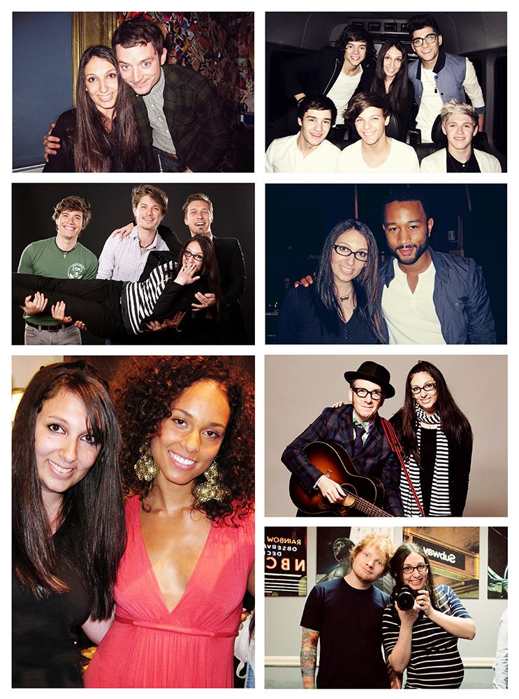 Top to Bottom, Left to Right: Diana's photo shoots with Elijah Wood, One Direction, Hanson, John Legend, Alicia Keys, Elvis Costello, and Ed Sheeran (and 4 months pregnant!).