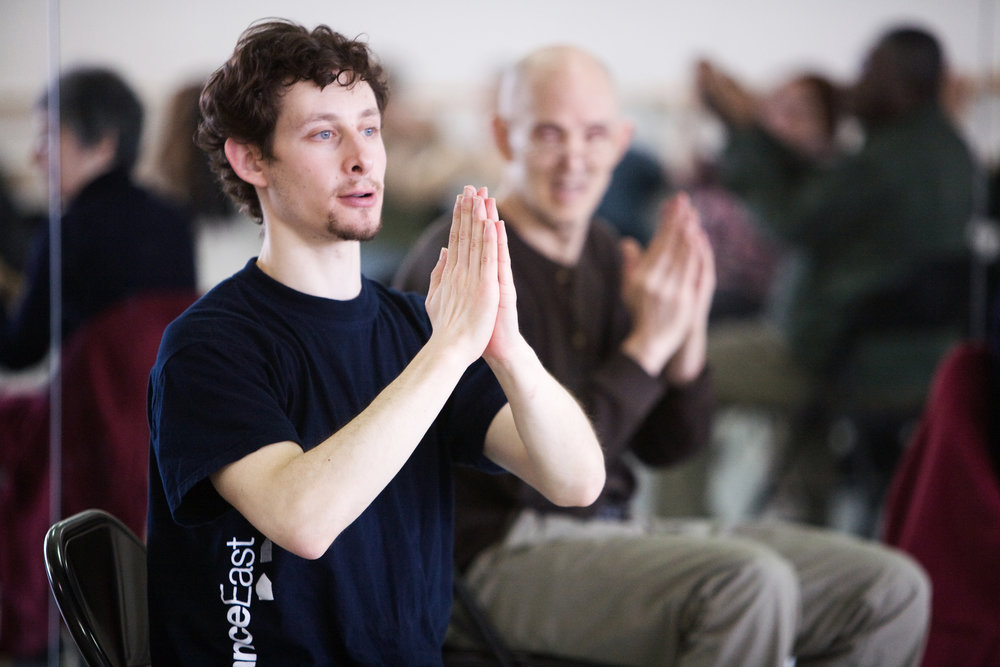 David Leventhal teaches members of the Brooklyn Parkinson Group at the Mark Morris Dance Center.