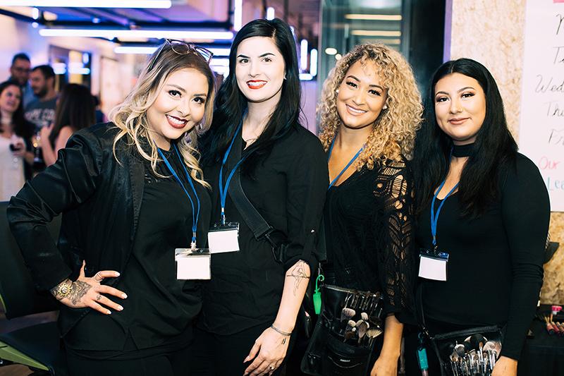 Photo by Natasha Moustache. Sephora Prudential Center provided make up for VIP guests. From left to right: make up artists Maritza Trujillo, Kayla Boyden, Ambar Sosa, and Yesenia Ramirez