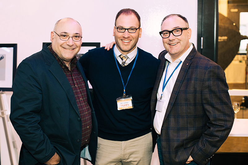 Photo by Natasha Moustache. Scott Levine and Jon Lawton from Hunt's Photo & Video with George Trickel from Leica Store Boston