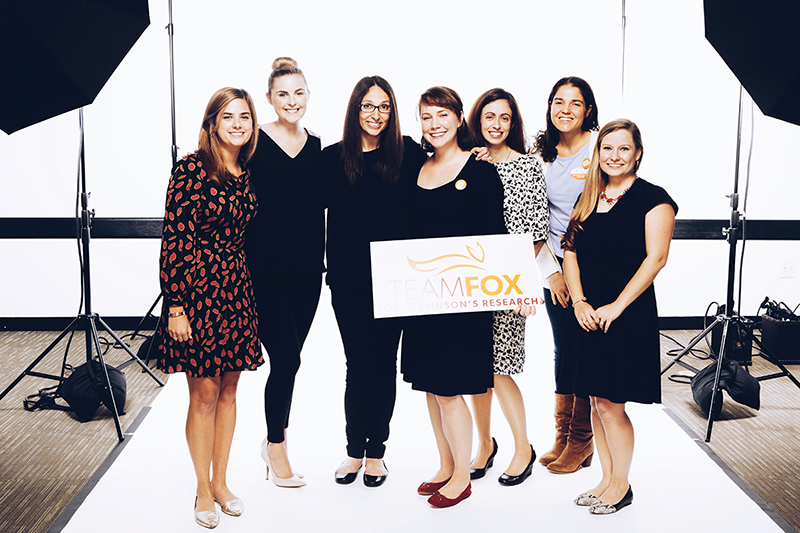 Clare VanMeter from The Michael J. Fox Foundation, Mary Kate McCann from Team Fox Boston Young Professionals, Diana Levine, producer of Photo Shoot for a Cure, Kathleen O'Donnell, Grace Crotty, and Alexis Hovanesian from Team Fox Boston YPs, and Axi Walker from Team Fox.