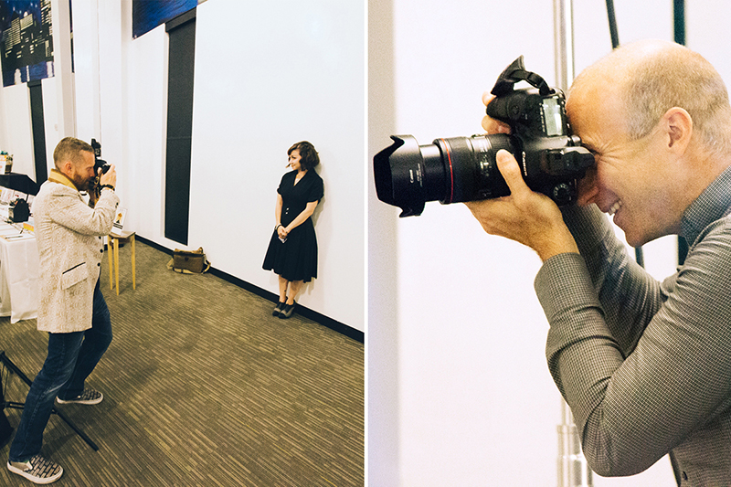 Photos by Brian Lauritsen. Left: Will Mann photographs Julie Lauritsen. Right: Photographer Dave Green shoots portraits.