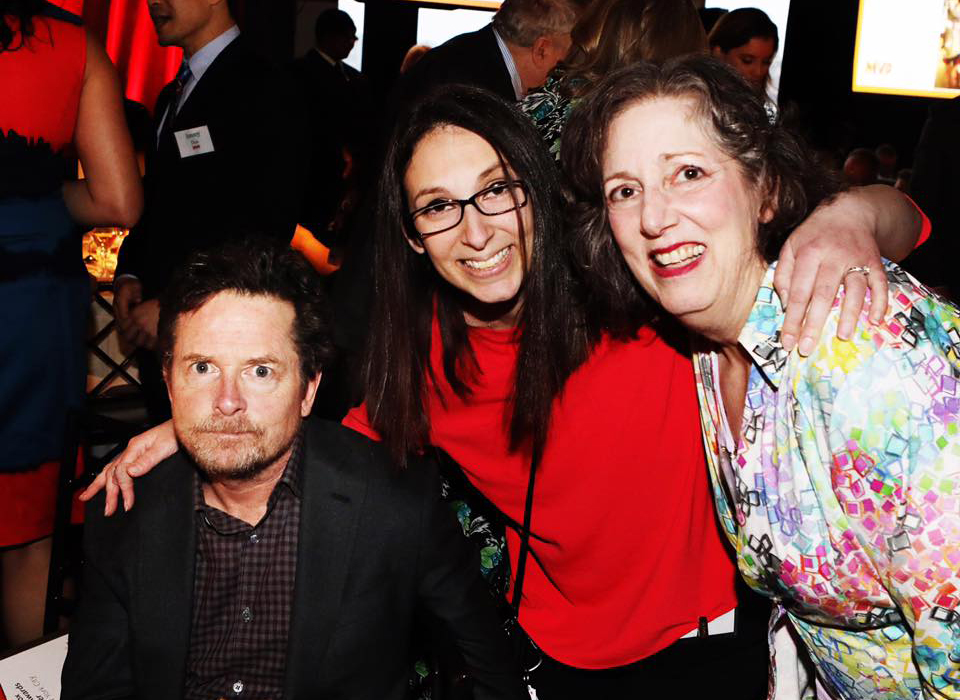 Michael J. Fox, Diana Levine (founder of  Photo Shoot for a Cure ) and Diana's Mom, Cindy Bittker