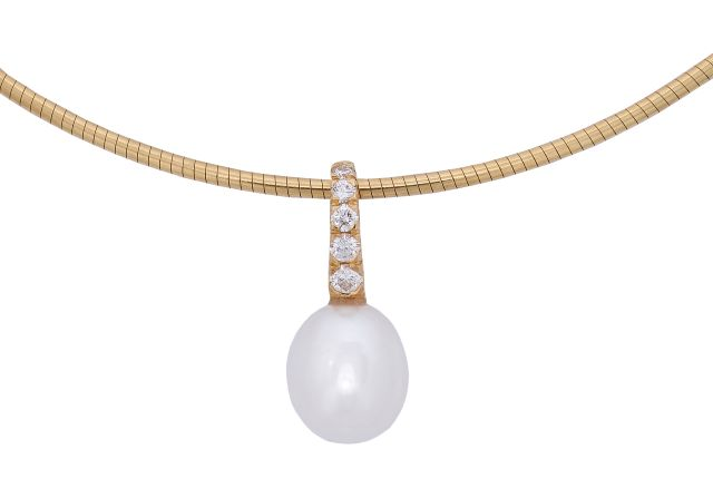 South Sea pearl pendant with grain-set diamonds.