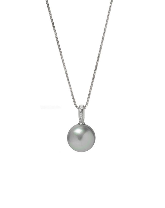 Tahitian pearl pendant with diamond-set white gold bail.