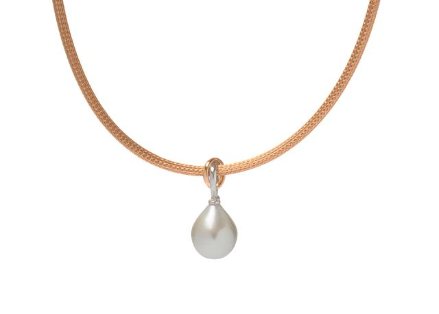 Rose and white gold South Sea pearl pendant on rose gold mesh chain.