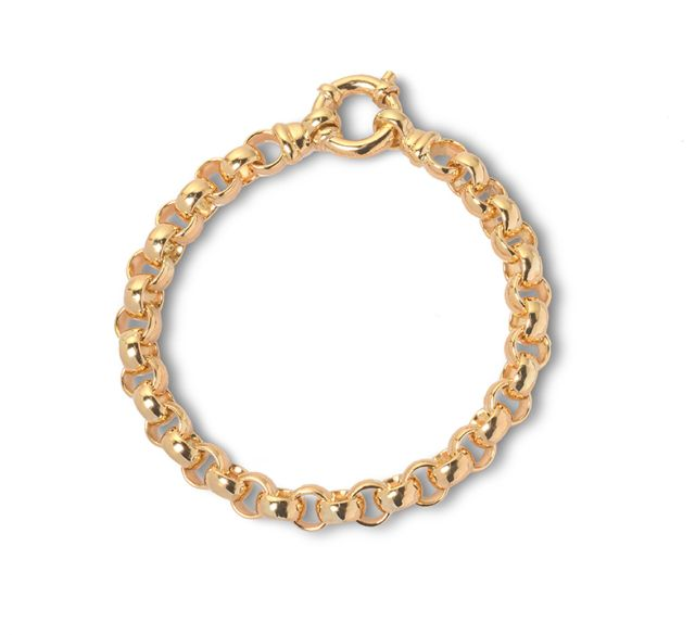 Yellow gold belcher-style bracelet with bolt ring.