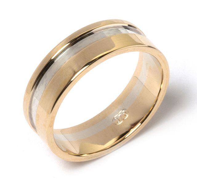 Yellow and white gold band with raised rails