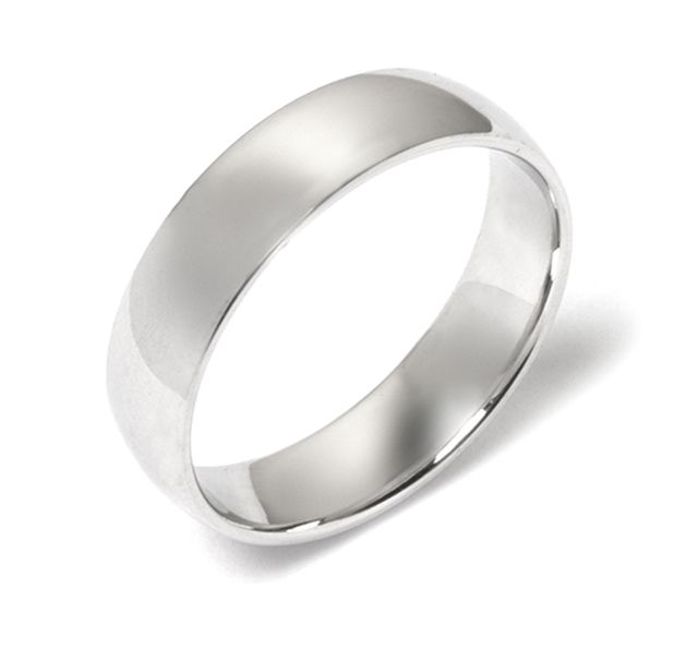 Satin finish white gold 1/2 round band
