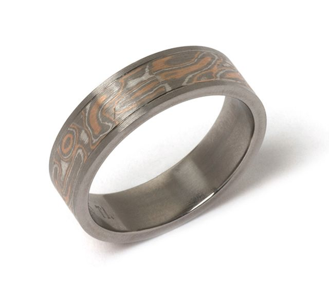 Mokume gane wedder in rose and white gold and sterling silver