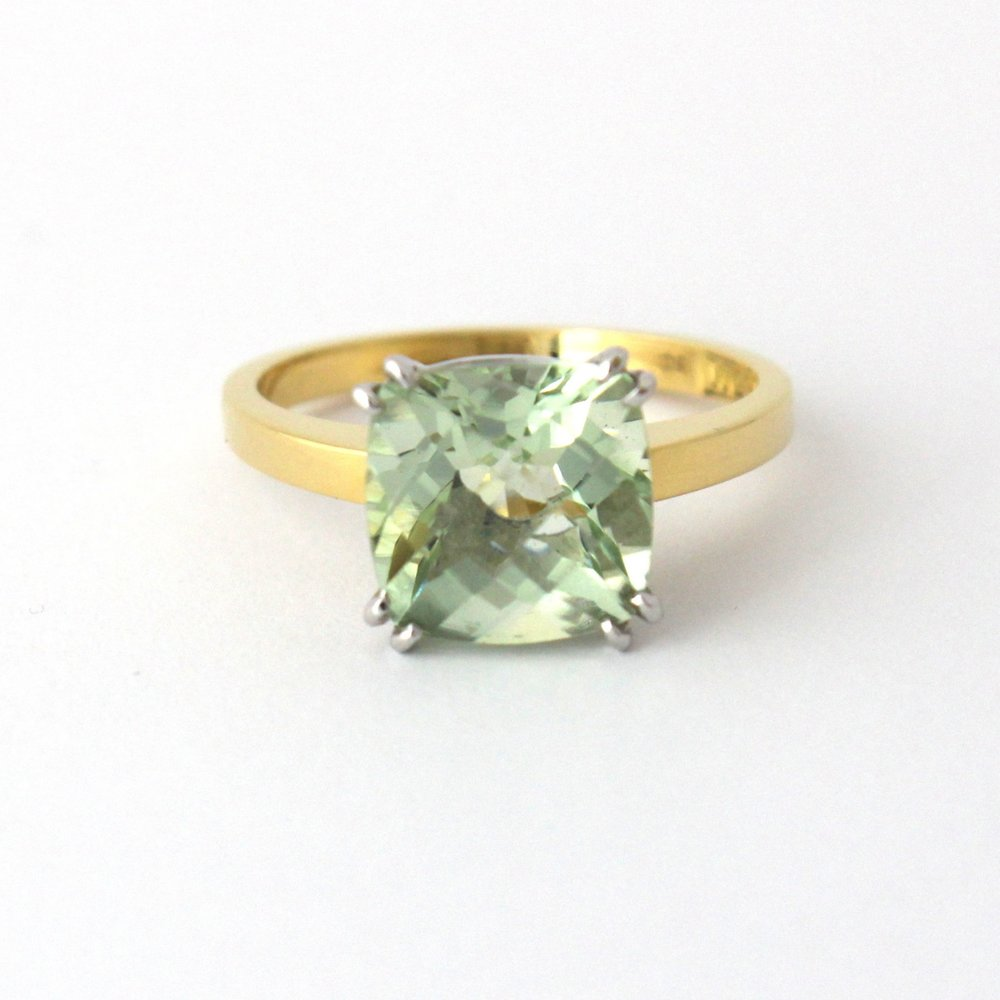 Chequerboard prasiolite (green quartz) set in yellow and white gold.