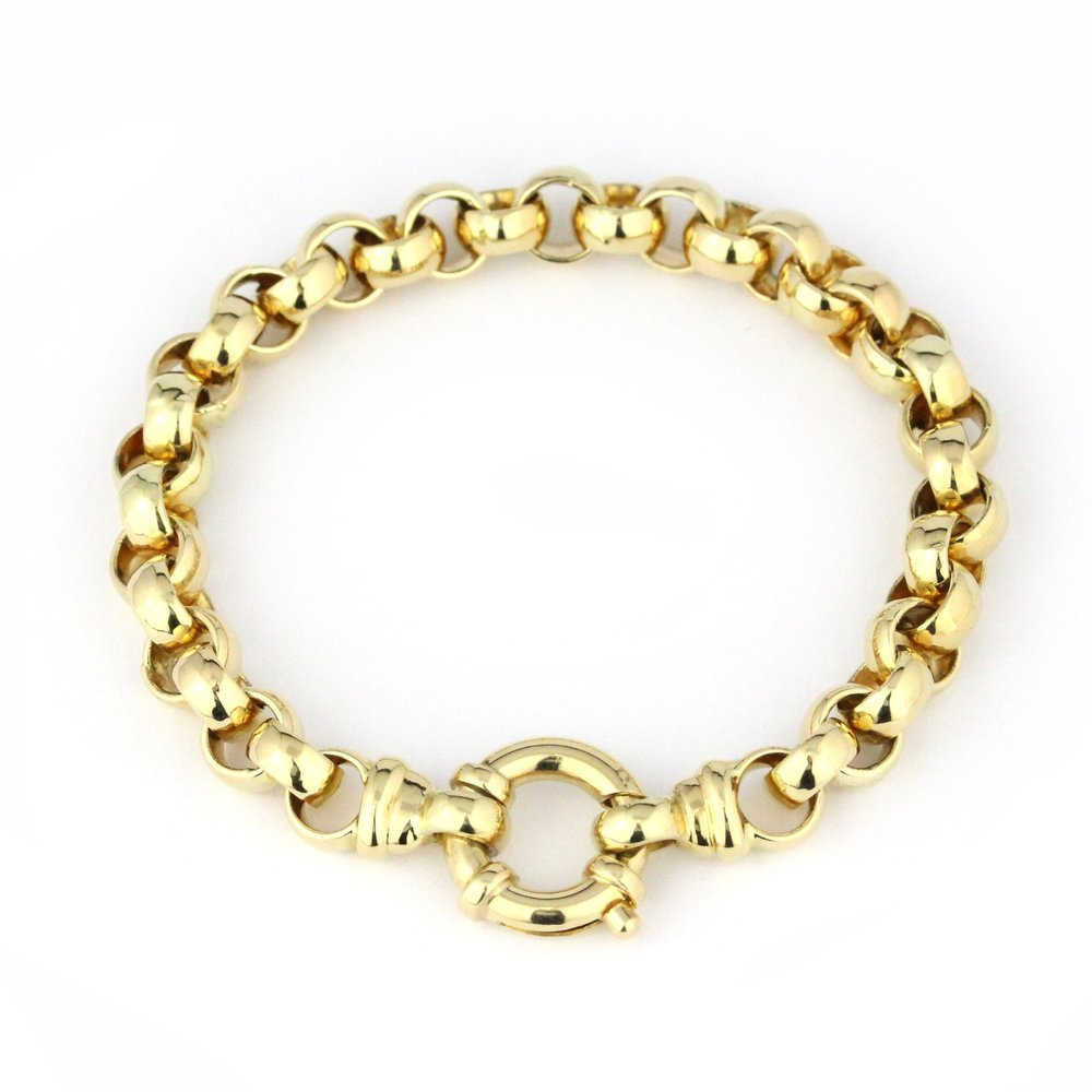 Yellow gold belcher link bracelet with bolt ring.