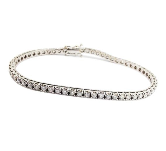 White gold diamond-set tennis bracelet.