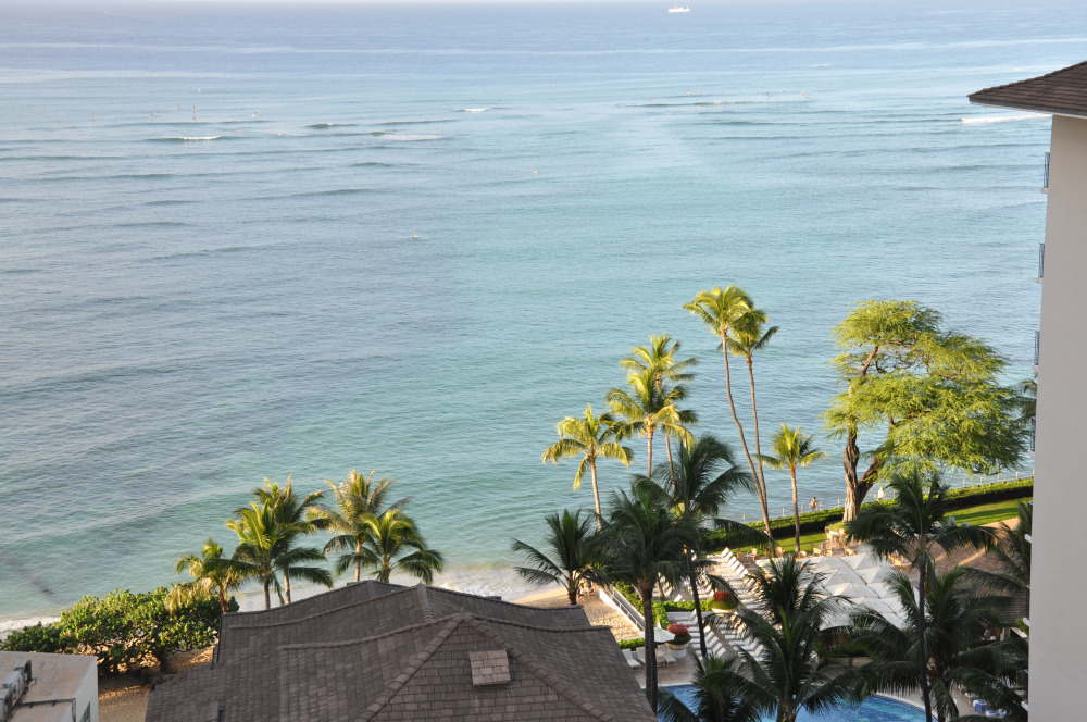 Waikiki Beach from our hotel, during our actual vacation