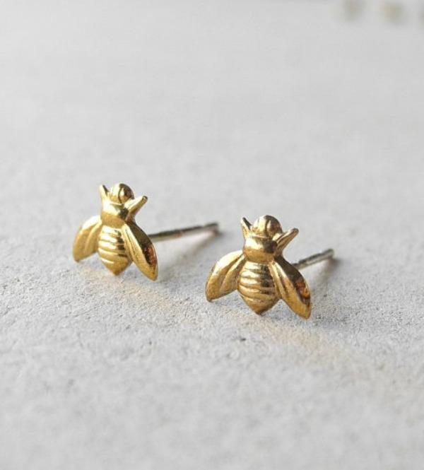 3d1399a9e Gold Bee Earrings — Latter-day Saint Art, Gifts & Decor