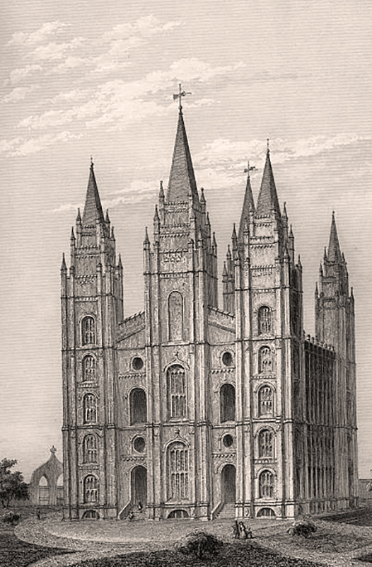 The Salt Lake Temple (USA). Engraving. (Photo by adoc-photos/Corbis via Getty Images)