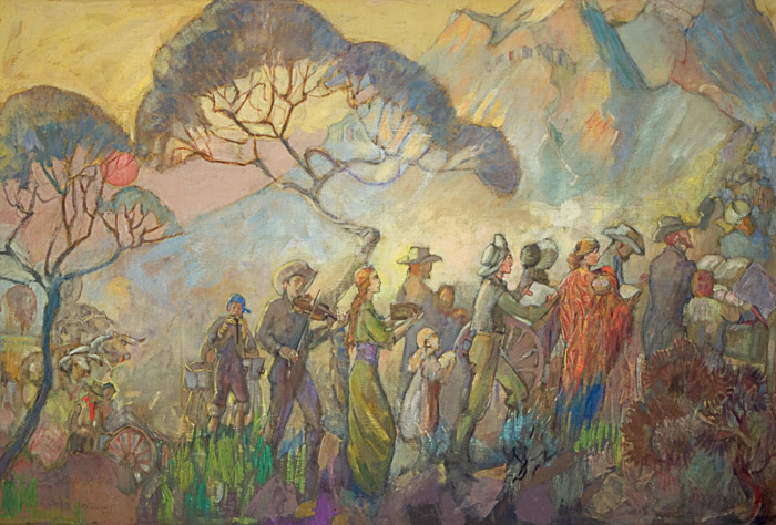 Minerva Teichert Art Get Ye Up into the High Mountain, O Zion,  1949, oil on canvas,