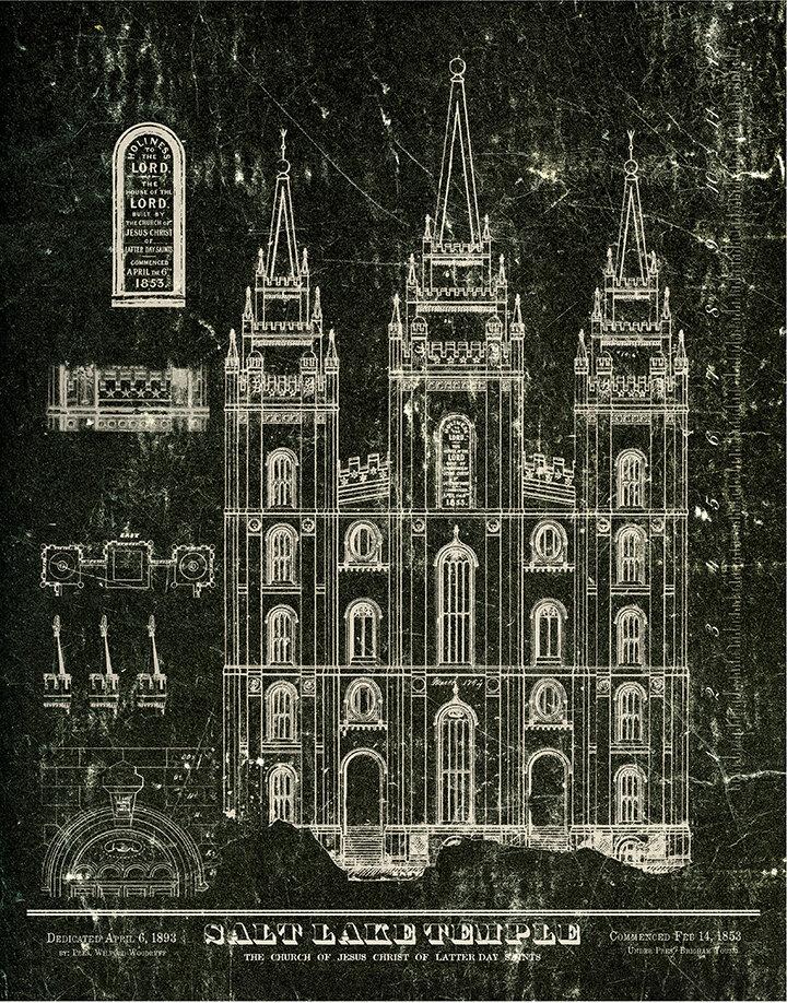 1853 salt lake temple blueprints black white lds art and lds 1853 salt lake temple blueprints black white malvernweather Choice Image