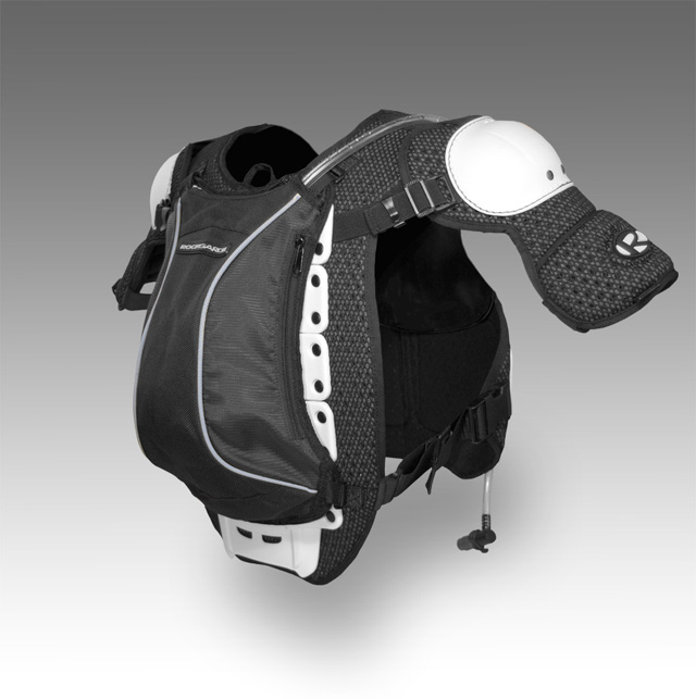 Integrated hydration pack mounted to Flak Vest